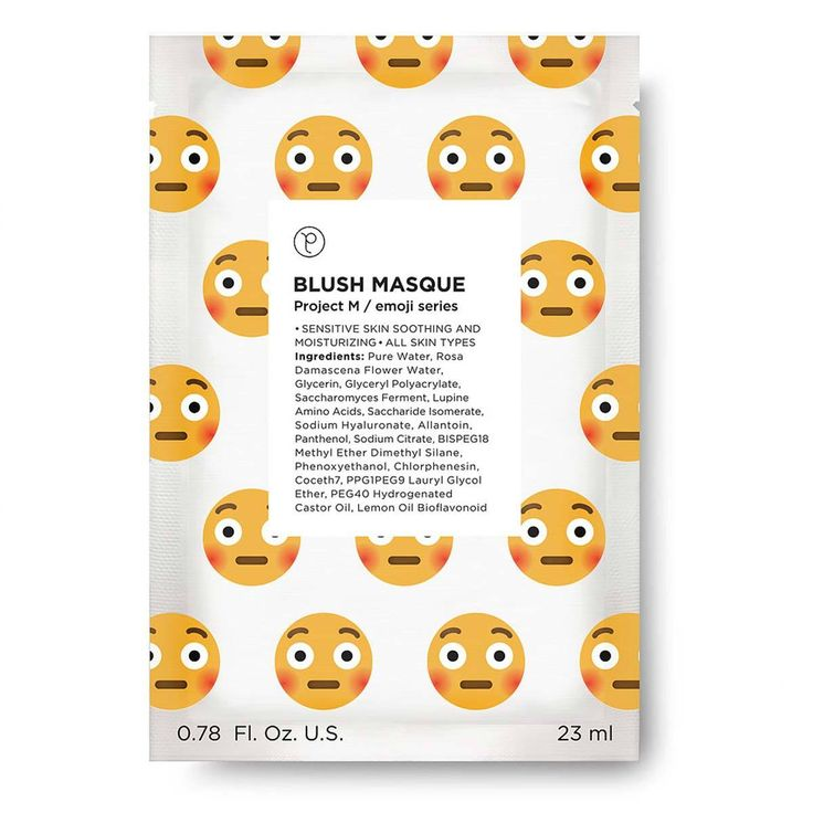 Brighten your day and soothe your sensitive skin! The Blush Emoji Masque is packed with calming Rose Water. This sheet mask is printed with a playful, blushing emoji.     Rose Water is rich in antioxidants and promotes healthy skin-cell turnover. Rose Water's anti-inflammatory properties help soothe irritated skin and redness. Glycerin gently hydrates your skin. Well suited for sensitive skin.