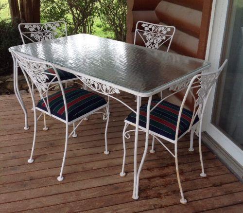 Salterini Mid Century Modern Wrought Iron Patio Table U0026 4 Chairs