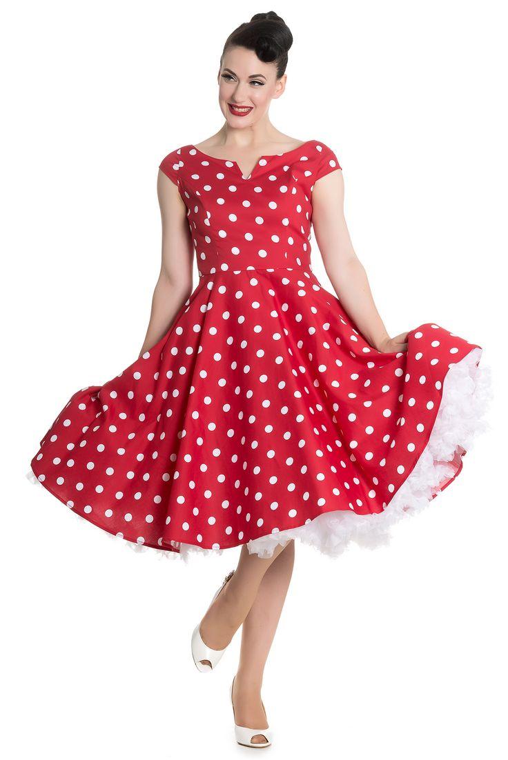 """Šaty Hell Bunny Nicky Red Polka Toto je to správné retro! Skvělé šaty ve výrazné červené barvě s nadčasovým bílým puntíkem. Zazáříte v nich na retro večírku, na svatbě či jiné akci. Příjemný lodičkový výstřih s malým rukávkem, v pase projmuté, takže nepřidávají objem, sukně od pasu dolů rozšířená. Silnější bavlna s podílem elastanu (98% bavlna, 2% elastan). Zapínání na zip v zadní části. Pro bohatší objem sukně můžete doplnit spodničkou v délce 25 - 27"""" v barvě bílé nebo černé, či jiné…"""