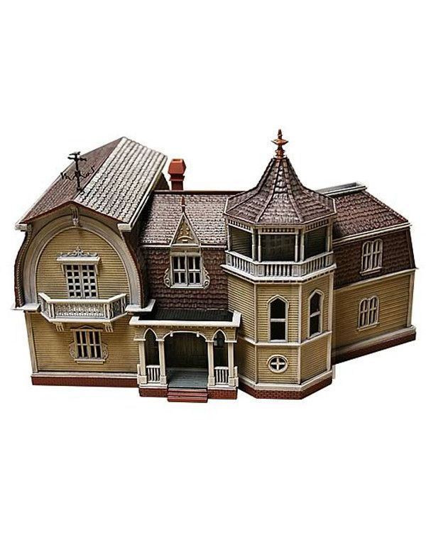 Welcome to 1313 Mockingbird Lane, home to your favorite family of monsters - The Munsters! The Munsters House is (1:87 scale) to match other plastic buildings and train layouts. Approximately 6-inches
