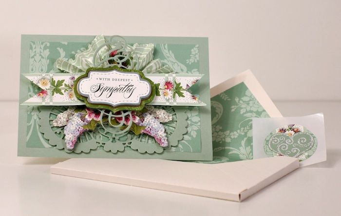 Sympathy card using Anna Griffin papers, die cuts and embellishments by Gaila's Paper Crafts