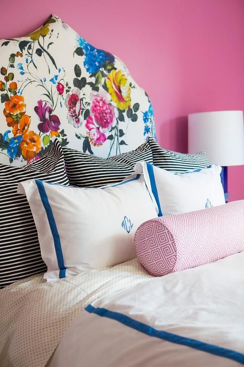 White and Blue Monogrammed Bedding with Pink Greek Key Bolster Pillow