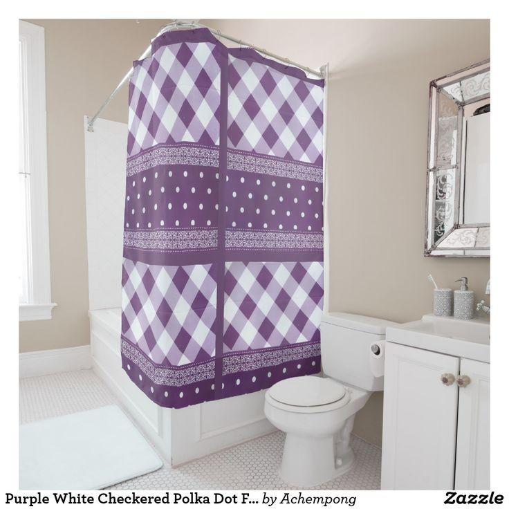 Purple White Chequered Polka Dot Floral Damask art Shower Curtain  #Amazing interior designer, unique modern beautiful elegant #plum  design,
