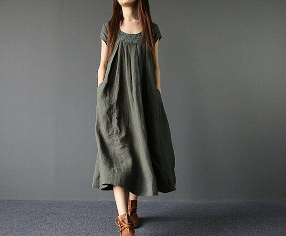 "Fabrics; Linen color; Army Green Size Shoulder 38cm / 15 ""  Chest 102 cm / 40 "" Waist 130cm / 51 "" Cuff 30cm / 12 ""  Skirt Length 110cm / 43 "" Hem 266cm / 104 ""  Have any... #sundress"