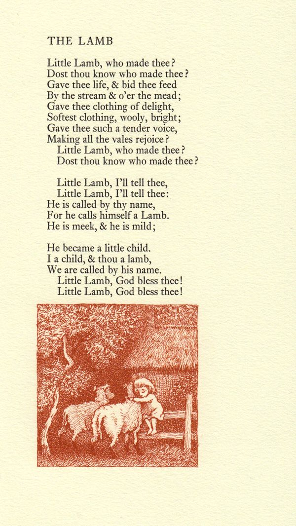 """Poems from William Blake's """"Songs of Innocence"""" illustrated by Maurice Sendak, 1967."""