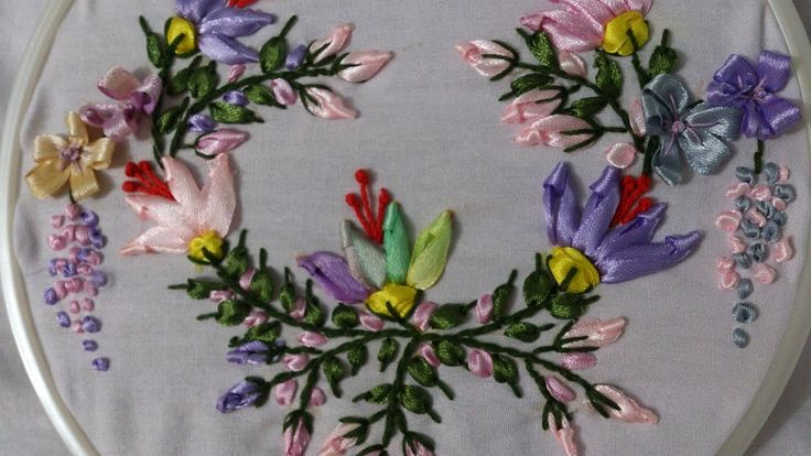 Ribbon embroidery stitches by hand  tutorial. Ribbon embroidery designs.