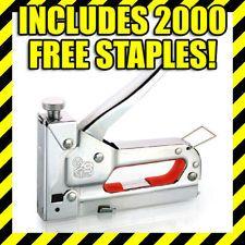 3 IN 1 Heavy Duty Steel Staple Gun Tacker Upholstery Stapler + FREE 2000 Staples