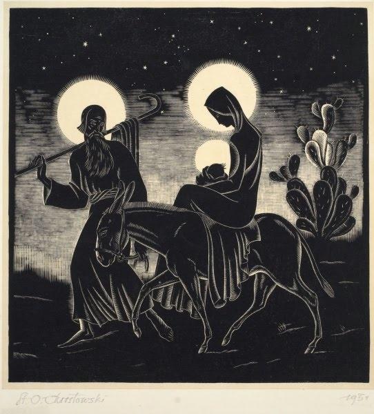 Władysław Skoczylas (1883-1934).  Looks like woodcut or linocut depicting the flight into Egypt