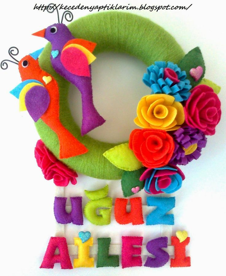 felt spring door wreath with roses&birds
