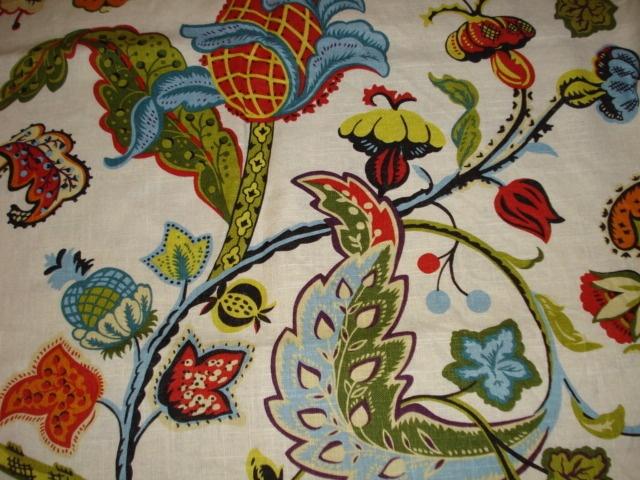 Covington Wilmington Jacobean Floral Multi Cream Fabric