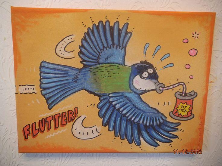 Blue Tit Fizz canvas by Duncan Scott