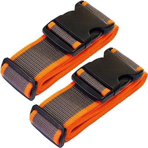 TRANVERS Luggage Straps For Suitcases Baggage Belt Heavy Duty Adjustable 2-Pack GY/OR