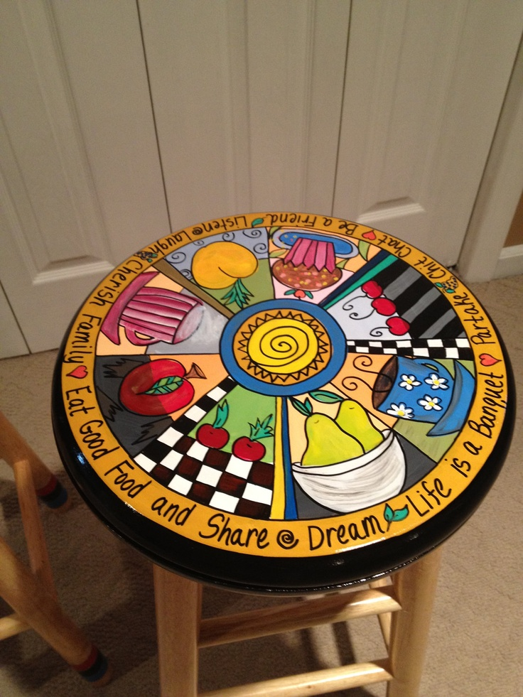 Hand Painted Wooden Bar Stool - 24 inch. $125.00, via Etsy.