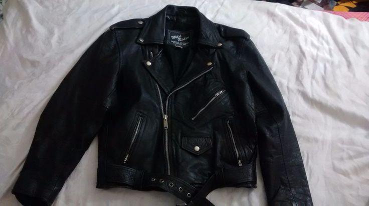 Wild Rider Leather Motorcycle Jacket Men's sz 40  Lined Belt Punk Spider costume #WildRider #Motorcycle