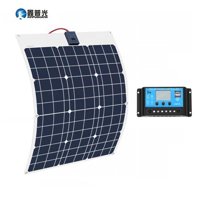 Xinpuguang 50w 18v Solar Battery Flexible Solar Panel 12v 24v Controller 10a Solar System Kits For Fishing B Solar Panels Best Solar Panels Solar Power Panels