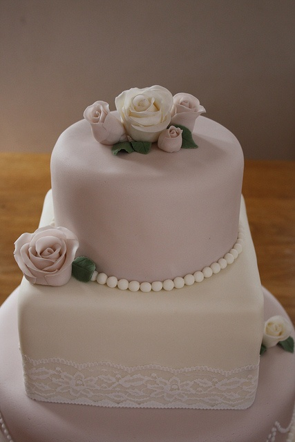 Vintage roses, pearls and lace on 3 tier wedding cake   Flickr - Photo Sharing!