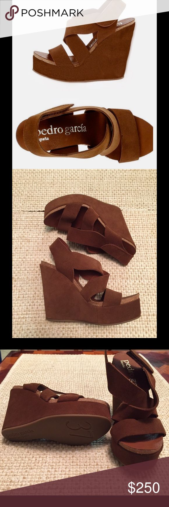 """Pedro Garcia Trina Wedge Sandals Pedro Garcia  """"Trina"""" wedge sandals in tobacco castoro. Sling back with grip-strap closure. Suede upper, leather lining and synthetic sole. Made in Spain. Roughly 5"""" heel height. Pedro Garcia Shoes Wedges"""