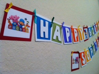 Pocoyo Birthday Banner by Getcreativewithkay on Etsy, $35.00