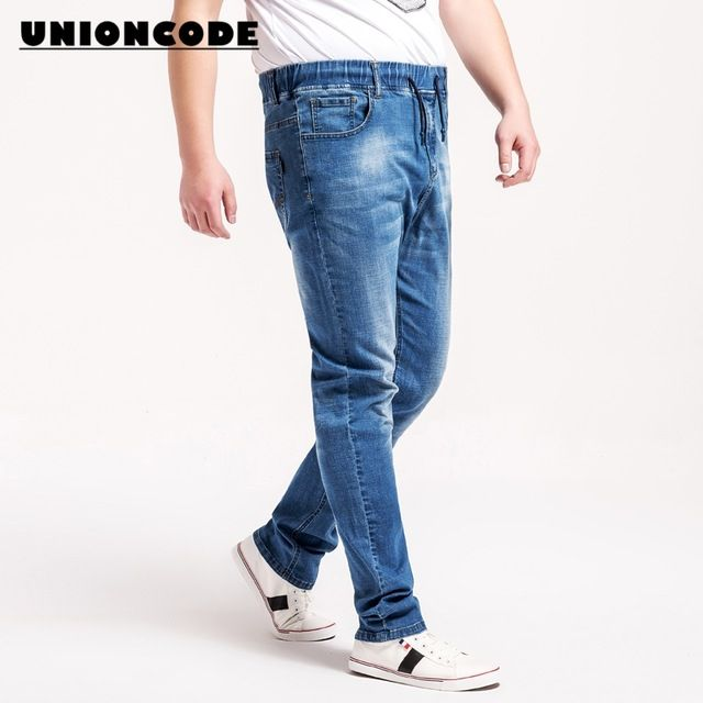 Check current price Full Size L-6XL Jeans Men Elastic Waist Regular Fit Soft Stretch Quality For Comfort Elastane Denim Blue Pants Mens Jeans just only $28.03 with free shipping worldwide  #jeansformen Plese click on picture to see our special price for you