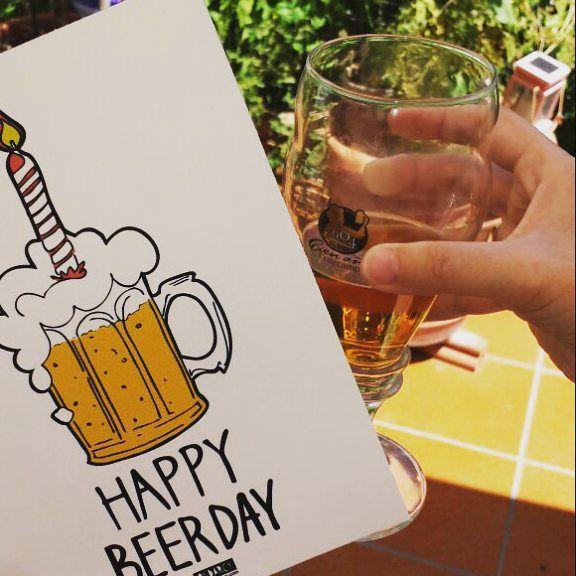 Happy beerday! - Birthday card // Tarjeta de felicitación. Feliz cumpleaños!