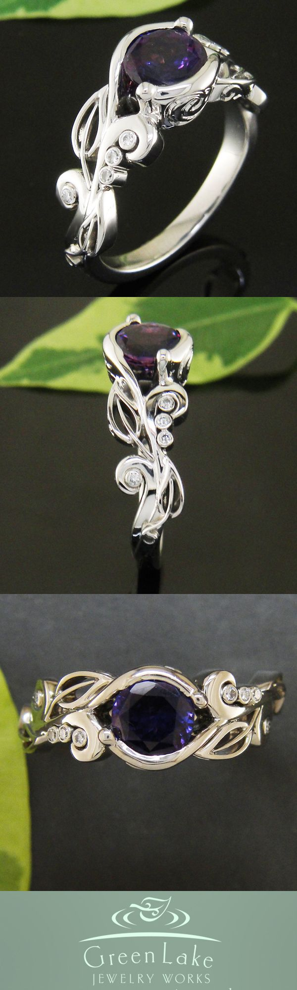 Purple sapphire flowing leaf ring.  the purple needs to be more purpley, but otherwise, I love it.