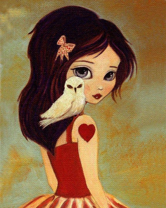 TheLittleFox. Owl Girl Art Print - Owlways 8x10 Print. $16.00, via Etsy.