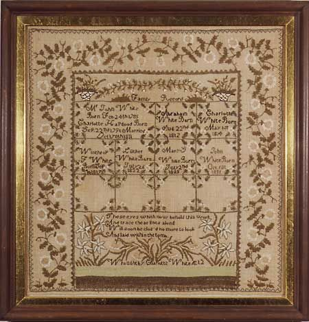 CHARLOTTE WHITE 1826, Middlesex County, Massachusetts  Charlotte stitched a very unusual compartmentalized sampler which included her parents births and marriage and the births of all their children. She followed with a verse, These eyes which now behold this work/ And trace these lines along/ Will soon be clos'd no more to look/ And laid within the tomb/ Wrought by Charlotte White AE 12.