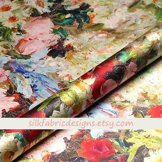 New Gorgeous High Class Designer Floral Satin Print Fabric Dress Material Art
