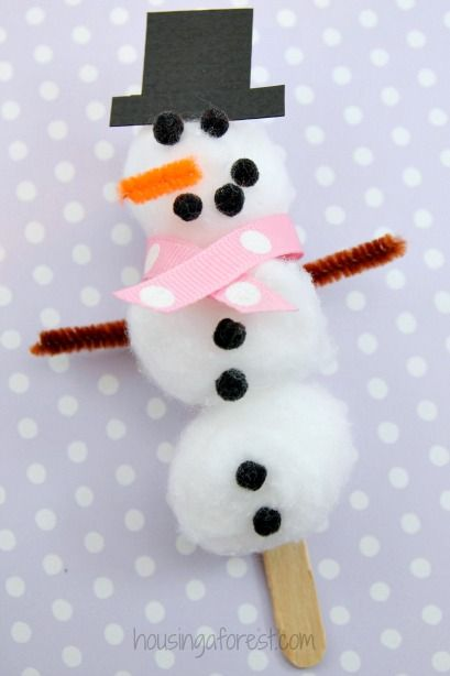 Easy Snowman Craft for Kids ~ Cotton Ball Snowman