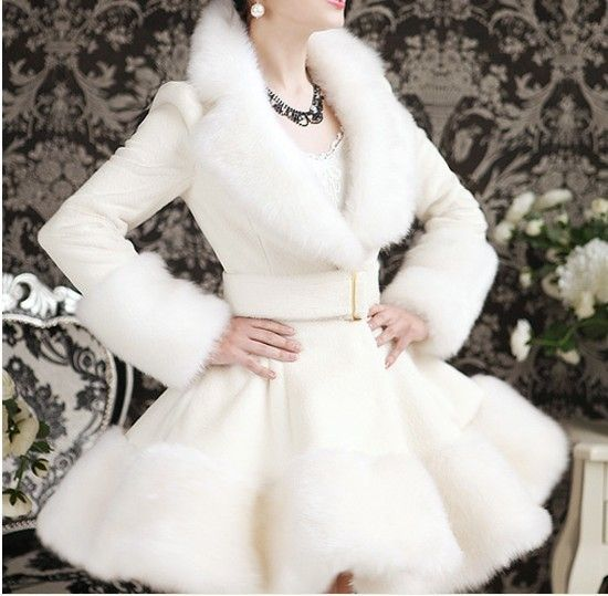 2013 Newest Women's slim winter long jacket with faux fur collar,white warm  dress style