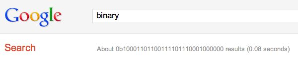 Log out of Google and search for [binary], [octal] and [hexadecimal] and you will see a little geeky easter egg!