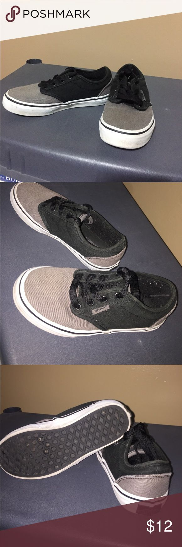 Vans for little boys. Size 13 Gray and black size 13 in boy Van shoes. They are in good to fair condition depends on how you want to see it. Vans Shoes Sneakers