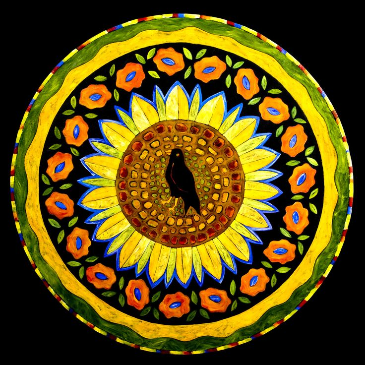 """""""Sunflower and Crow"""" circle floorcloth"""