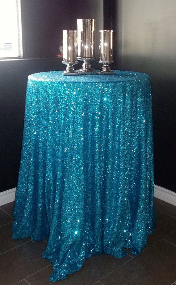 Turquoise Sequin Tablecloth. I need to throw a party with these colors just for the tablecloth!