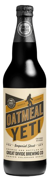 Great Divide Brewing Co. Oatmeal Yeti Imperial Stout. Roasty backbone with a small amount of raisins added in the brew kettle create a unique dark fruit character.