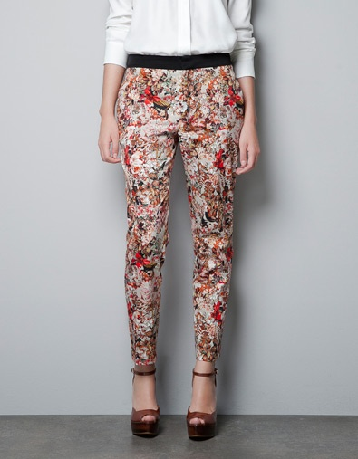 PRINTED TROUSERS WITH CONTRASTING WAIST - Trousers - Woman - ZARA