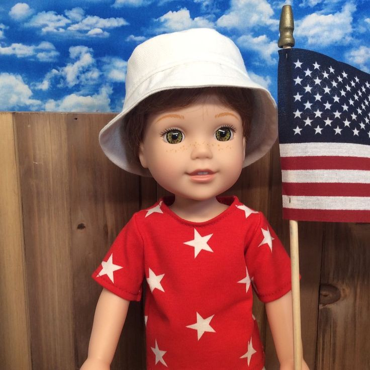 """American Girl Wellie Wishers Willa Custom 14.5"""" BOY Doll Patriotic Clothes OOAK #AmericanGirl #CustomizedBOYDoll"""