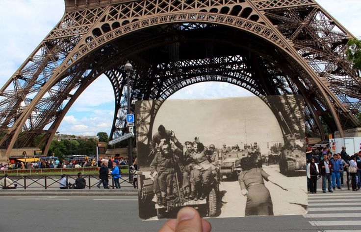 PARIS OVELAYS - THEN AND - NOW -  The Eiffel Tower in 1940.It is already one of the world's most iconic cities, but this incredible collection shows how much Paris has changed over the course of the past century. The collection, by French photographer Julien Knez, shows Paris in the 1940s against a backdrop of how the same places look today. Knez says he put the striking collection together to celebrate the 71st anniversary of the city's liberation from Nazi control in August 1944.