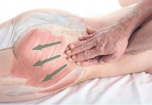 Stripping of gluteal muscles with the fingertips | Basic Clinical Massage Therapy