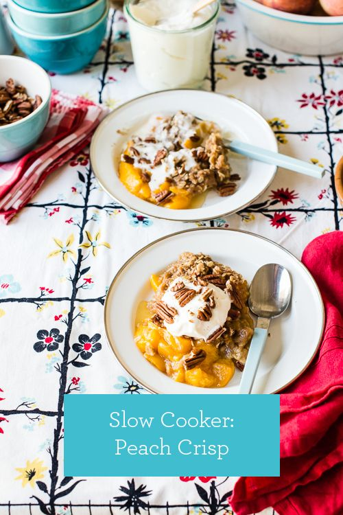 Slow Cooker Recipe: Easy Peach Crisp. Works with any summer fruit!   |   Design Mom