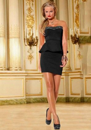 Dress with peplum, black