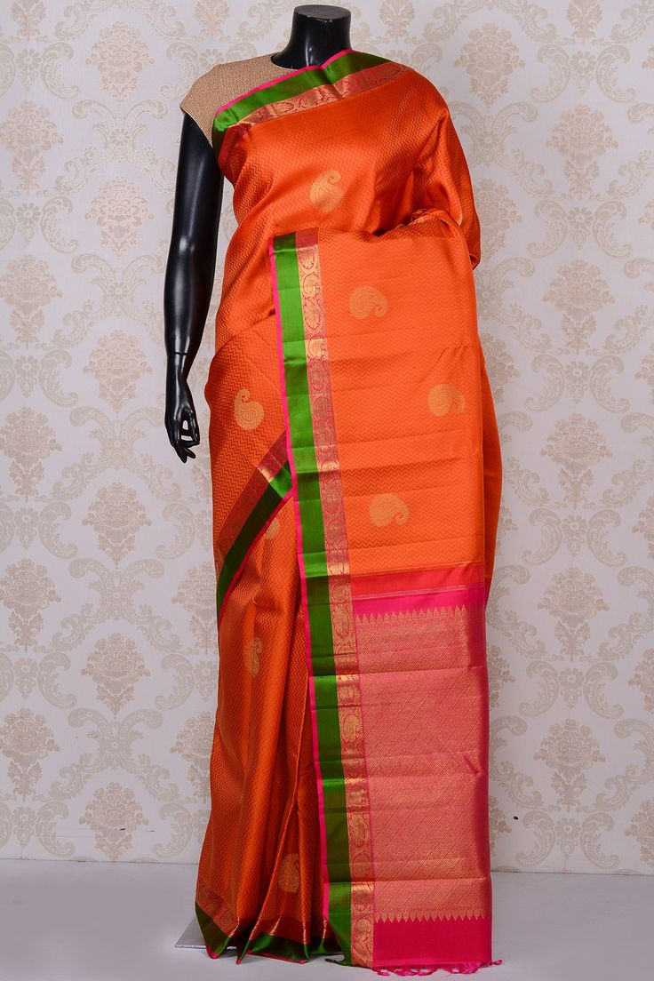 #Orange gorgeous #kanchipuram silk #saree with green border-SR18624 - #PURE KANCHIPURAM SILK SAREE #Sarees
