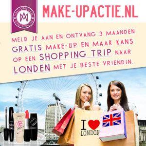 gratis make-up bestellen? profiteer via onze website van de gratis 3 maanden make-up actie en maak ook kans op een gratis shopping trip naar Londen => klik!