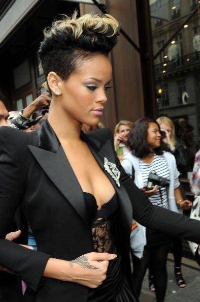 short hair mohawk hairstyles   Rihanna arrives at the Balmain Pret a Porter show on October 1, 2009