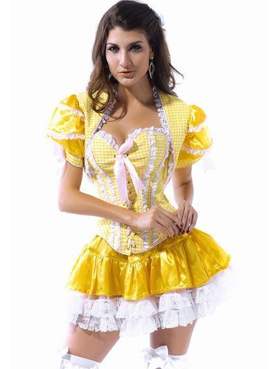 White Yellow Sweetheart Sexy Maid Costume