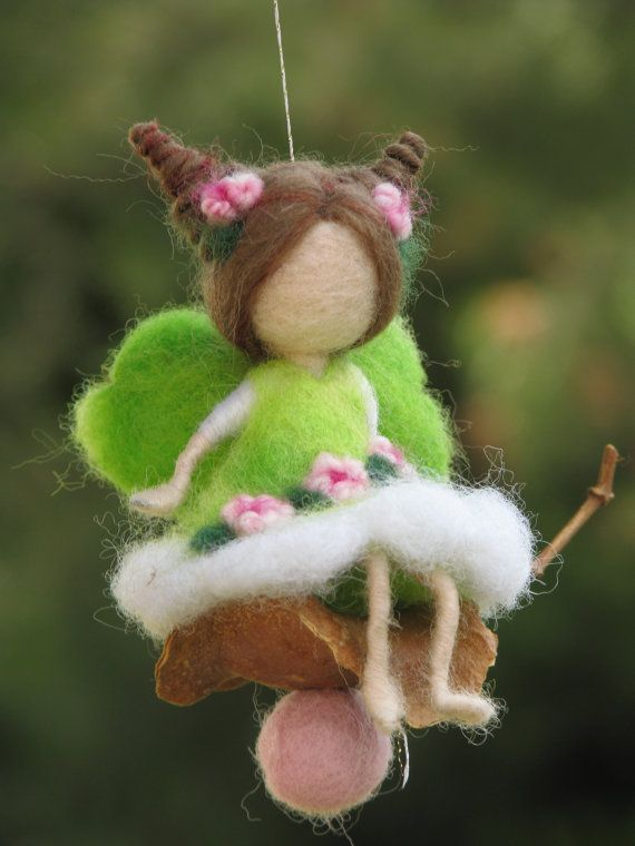 Needle felted Waldorf inspired Mobile Ornament Little magic fairy sitting on a…