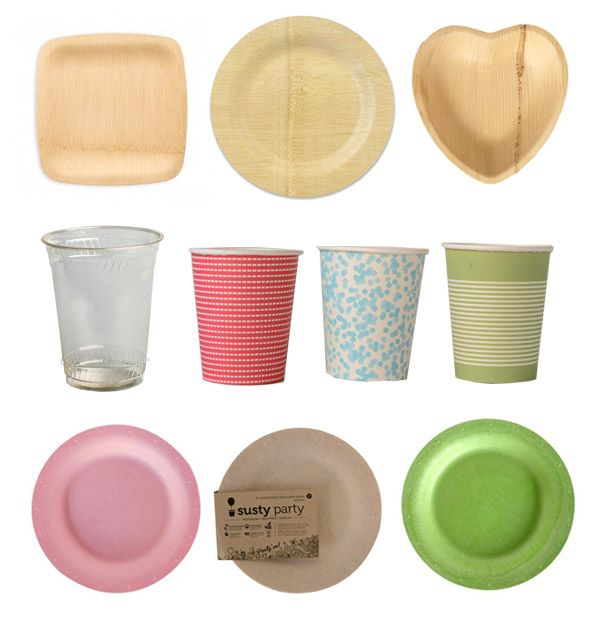 pretty compostable tableware for parties. paper and plastic cups and plates.