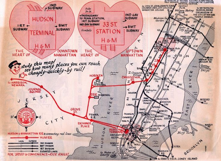 Historical Map Hudson Manhattan Railroad C A Great - New york city map 1950
