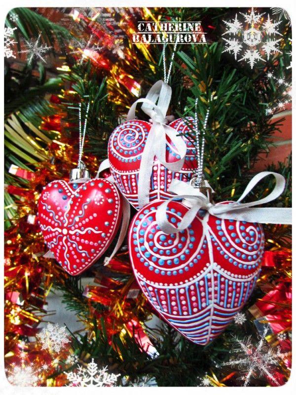 Набор новогодних елочных игрушек *Сердечные завитушки* (3 шт.) / Магазин-витрина товаров ручной работы
