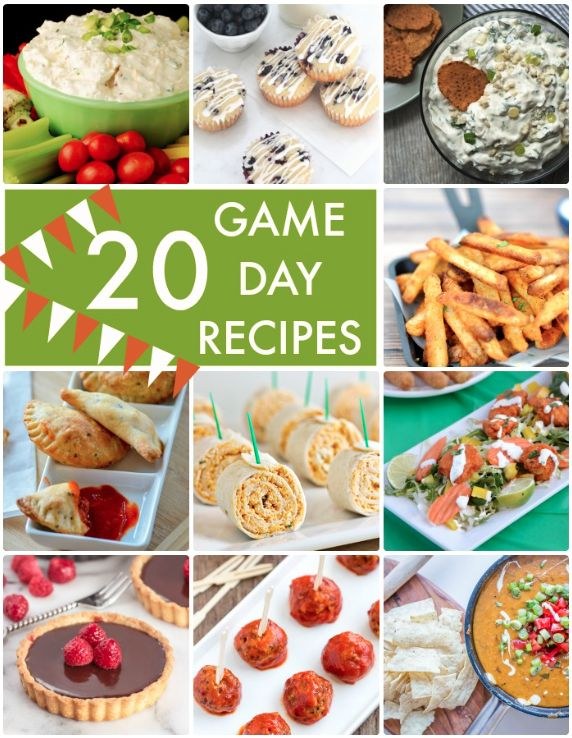 I love the decor and (of course)all the yummy recipes you can get away with eating at Super Bowl parties! Here are 20 Game Day recipes!
